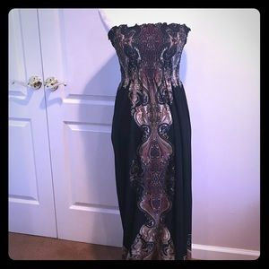 Elegant Strapless Black Patterned Maxi Dress